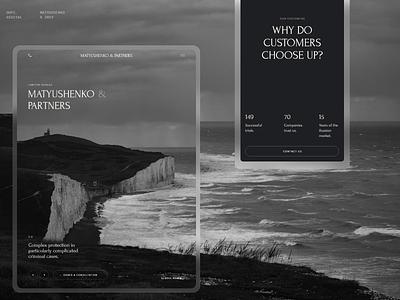 Matyushenko & Partners. art desktop website design black interaction typography web ux ui minimal
