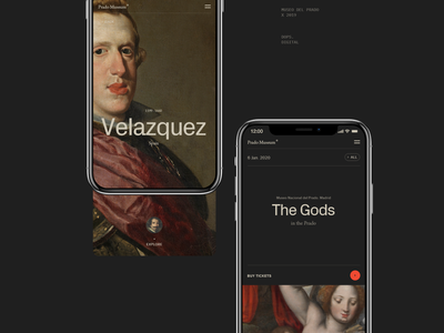 Museum of the Prado. grid mobile ui museum of art museum mobile app mobile design black typography web ux ui minimal