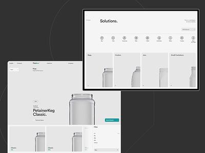 Petainer tablet web design 3d product technology grey website design typography black web ux ui minimal