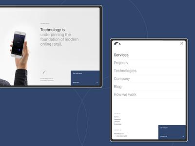 Elogic blue tech it tablet desktop website design typography web ux ui minimal