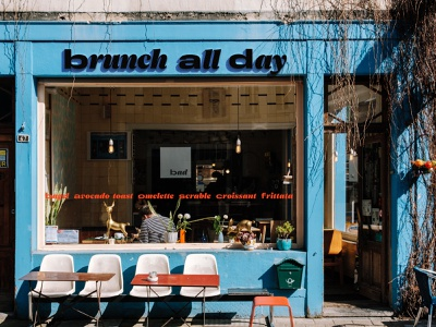 Brunch all day cafe signage logotype typography typo type logo branding
