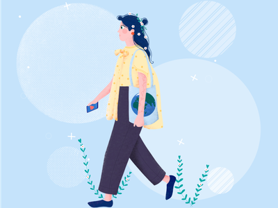 Girl ecological education app plants nature character movement love planet ecology fashion girl creative drawing procreate etheric agency illustration