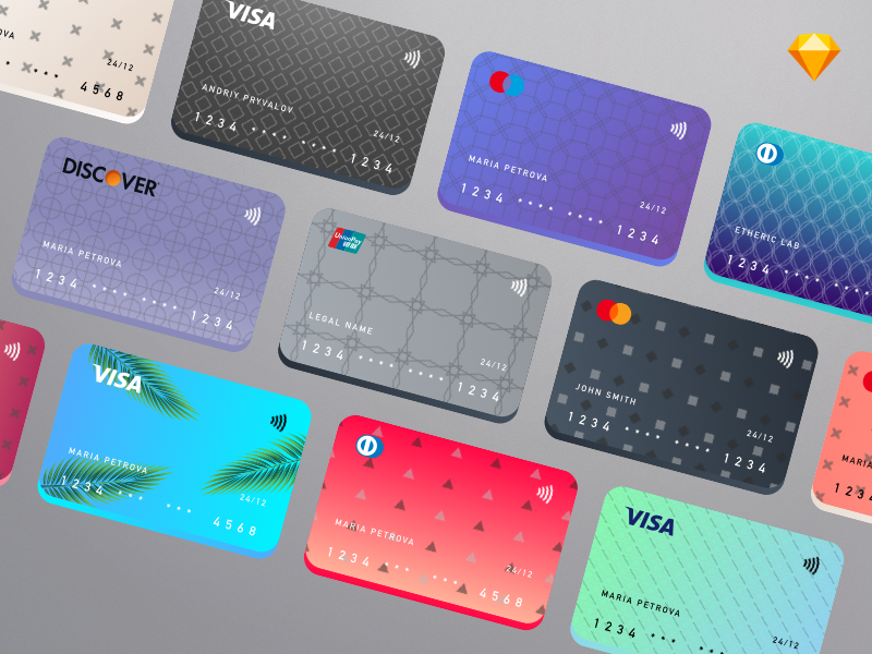 Cards Creation Kit Implementation kit symbol payment sketch app freebie etheric banking card credit bank ux ui