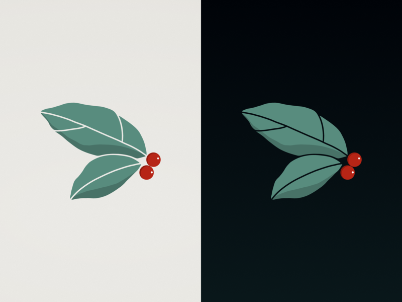 Leaves and Berrys icon friday split agency logo design digital drawing procreate contrast green red berry floral leaves flat minimal etheric creative illustration