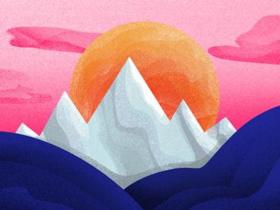 Sunset in the mountains procreate minimal logo illustration etheric drawing design skyline shadows shadow sunset sun mountains mountain agency