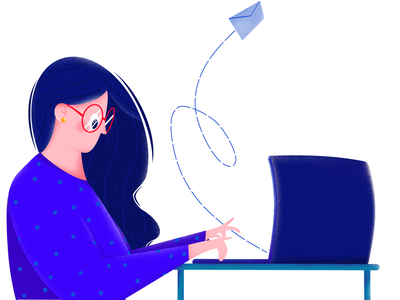 Busy Monday study mail computer busy email girl work procreate illustration etheric estonia drawing clean agency