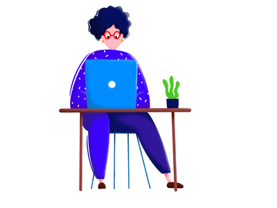 Busy Tuesday plant table computer busy girl working work procreate illustration etheric estonia drawing clean agency