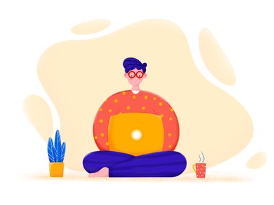 Home office love home coworking office freedom freelancer freelance busy boy man working work procreate illustration etheric estonia drawing clean agency
