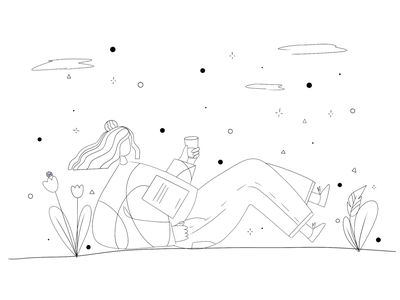 ❓🖍How would you color it? / Summer rest. challenge sketch creative fashion business study leaves nature rest girl drawing procreate etheric agency illustration