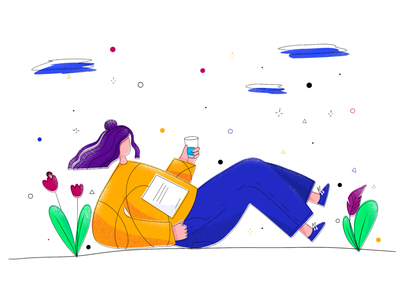 Summer rest - colored version colorful colors woman leaves naure summer rest study chill girl drawing procreate etheric agency illustration