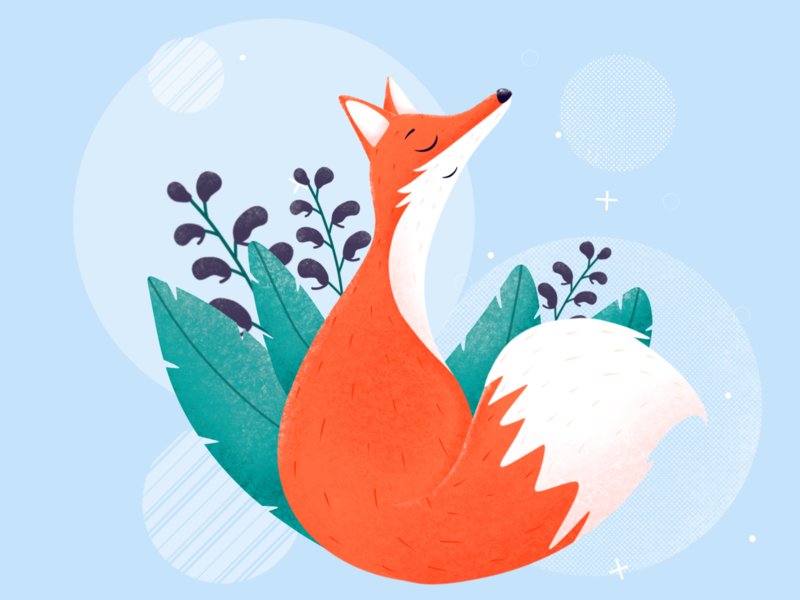 Red fox in a wolfsbane flowers background calm flowers flower plants plant ecologic ecology sustainability environment fauna cute animals animal nature fox drawing procreate etheric illustration