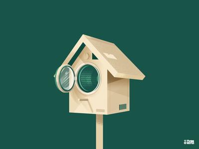 Bird Pool vector digital art freelance illustrator graphic designer illustration graphic design graphiste washing machine cabane pool bird