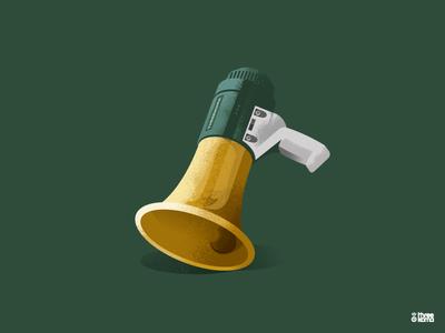 Mega vector digital art freelance illustrator graphic designer illustration graphic design graphiste or gold vert green cloche bell megaphone