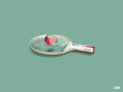 Ping Pool graphic designer graphic design graphiste vector digital art illustration illustrator ball raquette racket piscine pool pingpong