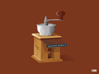 Grinder vector digital art illustrator graphic designer illustration graphiste grind magasin shop grain bean cafe coffee moulin à café grinder