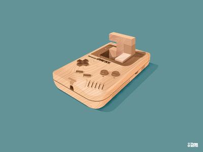 Wood Boy freelance digital art illustrator graphic designer graphic design illustration graphiste tetris blocks wood videogame retrogaming nintendo gameboy