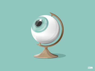 Globe graphicdesign digital art threekoma graphic design digitalillustration vector shadow light textures illustrator illustration eye globe