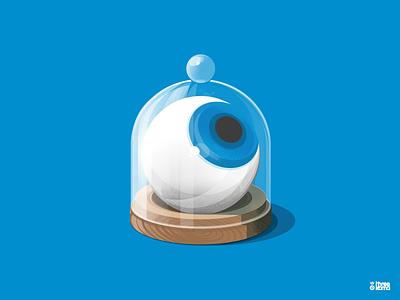 Under glass threekoma vector digital art graphic designer graphic design graphiste illustrator illustration verre cloche eyeball eye glass underglass