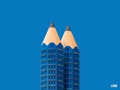 Towers freelance digital art illustrator illustration pencil towers