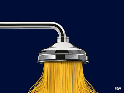 Pasta freelance digital art illustrator illustration shower pasta