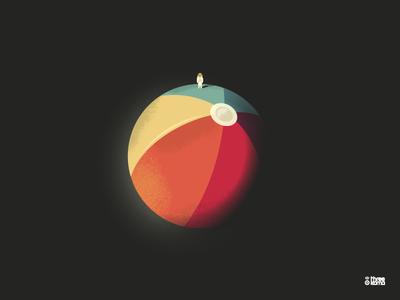 Bammoon astronaute space espace beach plage ballon balloon lune moon