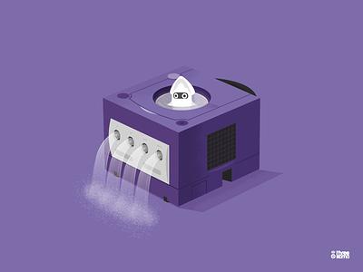 Bloups Cube graphic designer graphic design illustration console jeux video gaming gamecube