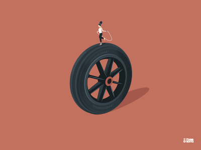 Jump Rope threekoma illustrator rouen corde à sauter femme woman jump rope wheel vector digital art graphiste freelance graphic designer illustration graphic design