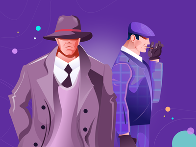 Illustration for gambling noir figma landing ui illustration flat violet gangsters bad guys club