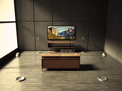 Levitating speaker system 3d cinema 4d
