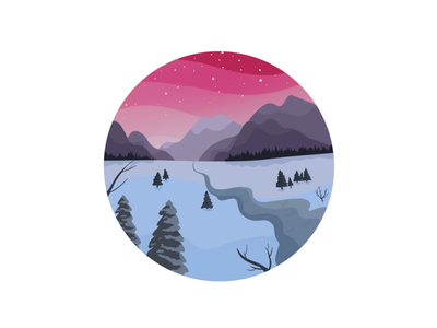 Snowy sunrise procreate painting colourful digital painting snowy mountains forest landscape scenery sunrise snow