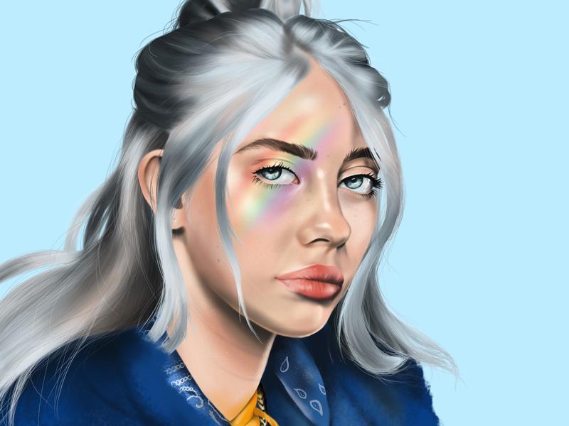 Billie woman realistic procreate portrait pop musician music digital painting digital art billie eilish drawing realism adobe painting procreate billie