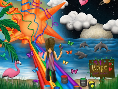 Creating Hope Illustration space creative outerspace sunshine sun inner child butterflies rainbow digital design procreate illustration