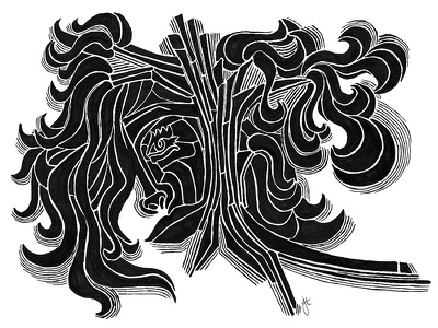 Just a little sharpie doodle woodcut abstract face tree illustration sketch sharpie marker