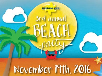Sunshine Kids Beach Party charity kid friendly hand-lettering illustration adobe draw adobe illustrator adobe indesign