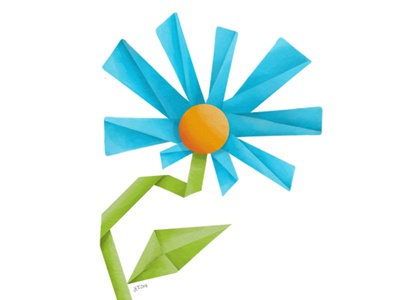 Origami Flower Illustration origami illustration digital adobe photoshop sketch