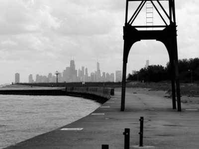 Chi Town waterfront landscape city black and white photography
