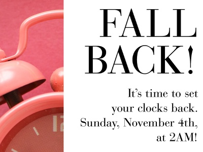 Fall Back Time Change email blast indesign