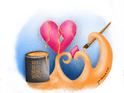 A Broken Heart Healed with Gold hand lettering vector advertising procreate creative concept gold broken heart doodle digital design illustration