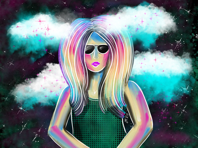 Head in the Clouds, Eyes on the Stars ipad pro abstract illustration adobe fresco