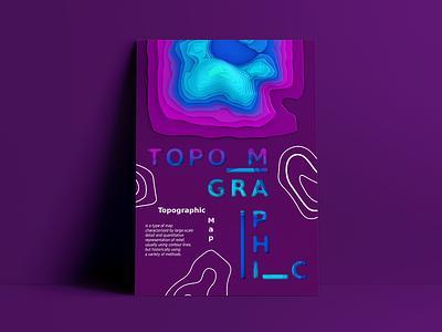 Topographic Map visual typography graphic design graphic illustration art 3design modeling cinema4d 3d art poster illustration design