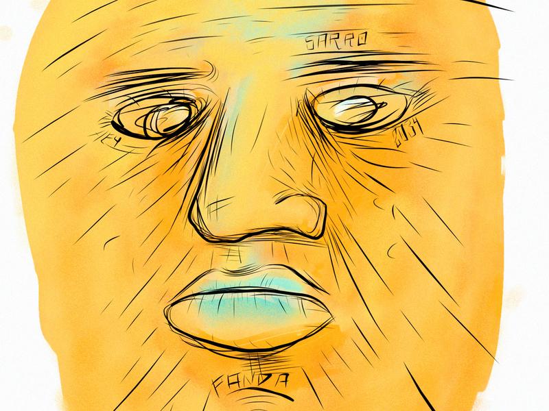 Mr Pappah draw applepencil face art illustration art fresco illustration