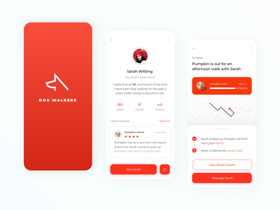 Dog Walker App review profile progressbar red uidesign minimal flat app logo ux ui