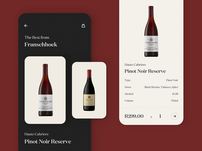 Wine App Exploration font elegant appdesign texture ecommerce application minimal flat ux ui app