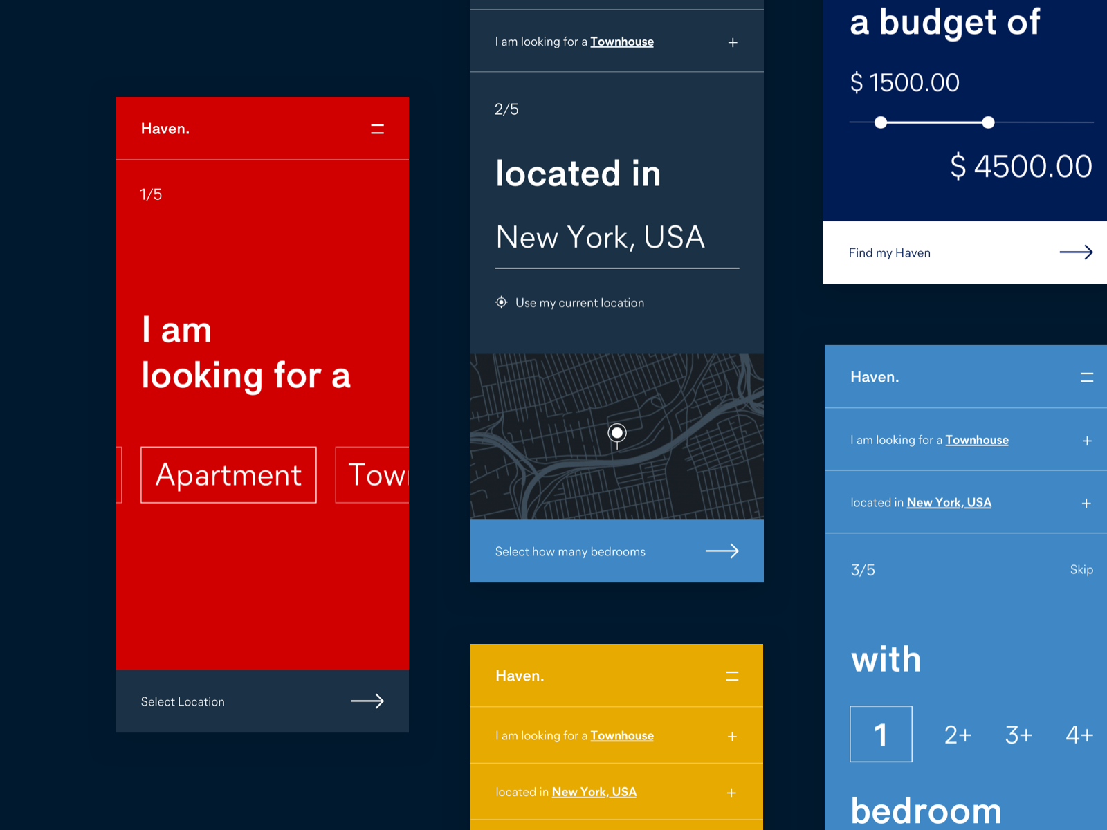 Haven Rental App - Onboarding Screens