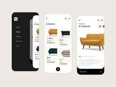 Sofacompany Retail App sheet typography product design icon app minimal modern flat retail ecommerce ui ux