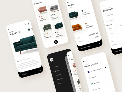 Sofacompany Retail App - Screens payment checkout cart symbol sketch modern ecommerce minimal flat app icon typography ux ui