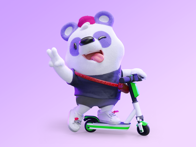 3D Panda - Kard 3dblender panda scooters lime green mascot animal