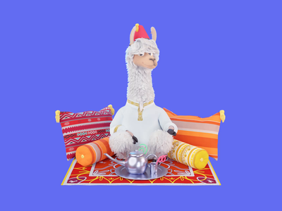 Waldo.io tea design avatar waldo lama character 3d