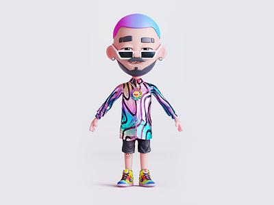 JBalvin - 3D Character avatar holographic fashion shirt gradient human character 3d