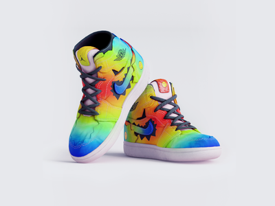 Air Jordan 1 - JBalvin holographic gradient character illustration design shoes design shoes 3d